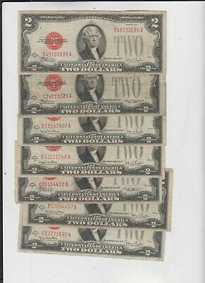 U.S. Note Red Seal $2 1928's 7 notes  vg-fine