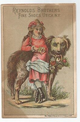 1880s Reynolds Brothers Shoes Trade Card Dog & Pretty Victorian Girl Utica, NY