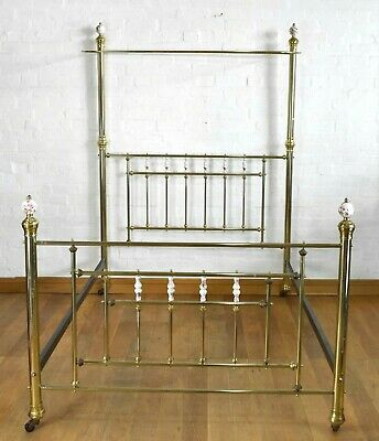 Antique vintage brass half tester canopy double bed