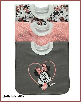Disney Baby Girls Minnie Mouse Bib Set 3 Pack Over Head Character Bibs BNWT