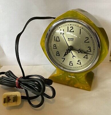 Catalin Green Marble Art Deco Bond Electric Clock