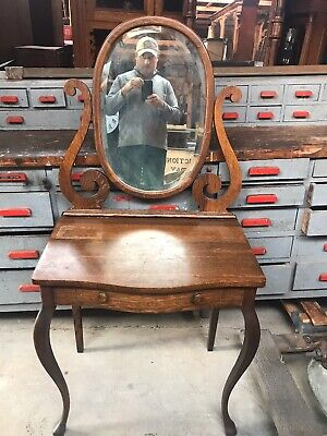 Nice Small Oak Vanity In Original Finish Oval Mirror All Original Condition.