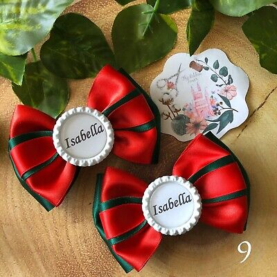 x2 Handmade personalised school hair bows accessories clips bobbles girls boys