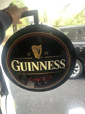 """GUINNESS PUB SIGN w. MOUNT TWO SIDED GLOBE PUB LIGHT BAR SIGN 18"""""""