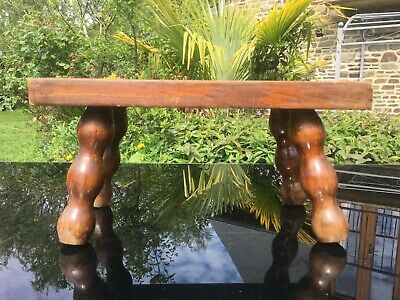 OAK Foot Stool VINTAGE 4 Legged FRENCH BOBBIN SPINDLE LEGS pot plant stand