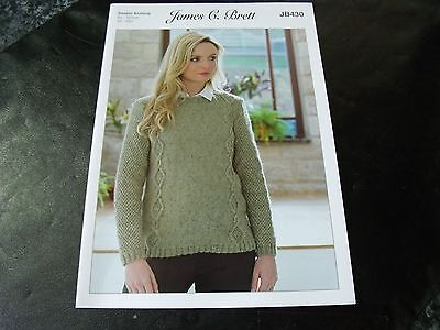 "42/"" BUST JAMES C BRETT JB430 MISTY DK SWEATER ORIGINAL KNITTING PATTERN 32/"""