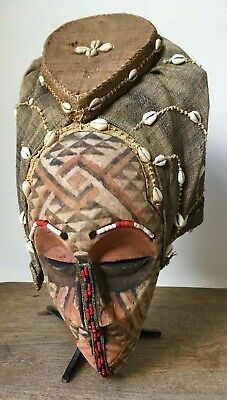 Beautiful Antique African Hand Carved Tribal Kuba Helmet Mask With Shells