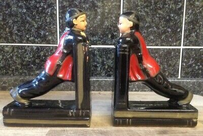 Pair Of Vintage Chinese Ceramic Figures Bookends.