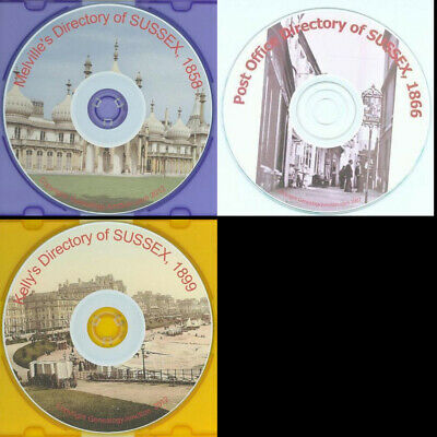 SUSSEX Genealogy Directory 1858 1866 1899 Kelly's Post Office CD - select option