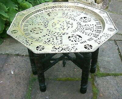 Antique  Chinese  Rosewood Carved Folding Side Table With Brass  Top