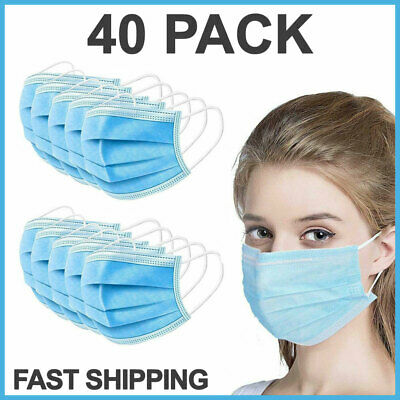 40 PCS Disposable Face Mask Surgical Medical Dental 3-Ply Earloop Mouth Cover
