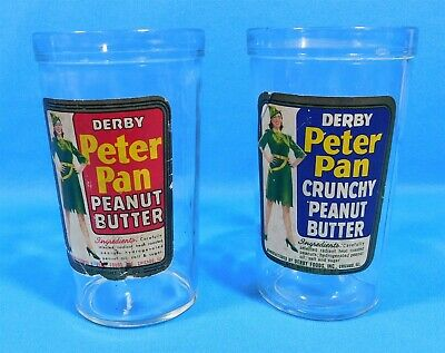 2 DERBY Peter Pan Crunchy & Regular Vintage Peanut Butter Glass Jars w/ Labels