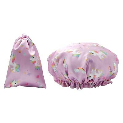 Dilly's Collections Waterproof Shower Cap / Matching Satin Bag Hair Care Unicorn
