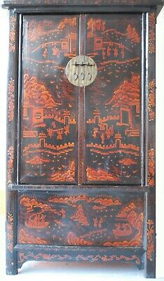 Large Antique Chinese Black & Orange Cabinet with Original Paintings c.1910