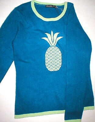 NWT New Womens Sweater Extra Soft Blue Cashmere L Green Pineapple Hannah Rose