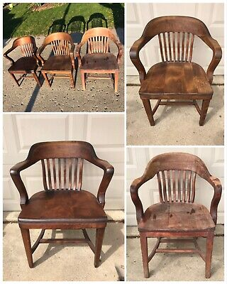 Lot Of 3 Vintage Wood Bankers Chairs Industrial Wooden Courthouse/Office Chairs