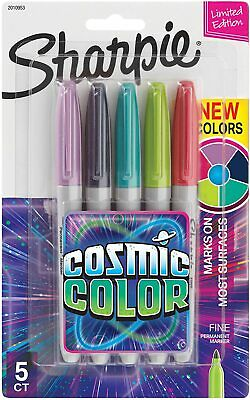 Sharpie Permanent Markers, Fine Point, Cosmic Color, Limited Edition, 5 Count