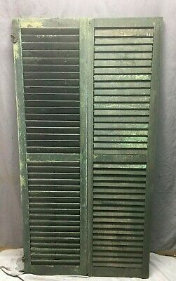 Pair Vtg House Window Wood Louvered Shutters 17x66 Shabby Old Chic Green 61-20M
