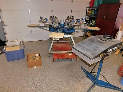 M&R 4 Station 6 Color Screen Printing Equipment With Flash Dryer 26 Pallet's