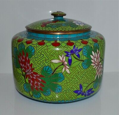 Old or Antique Chinese Cloisonne Circular Box and Cover Green Floral Design