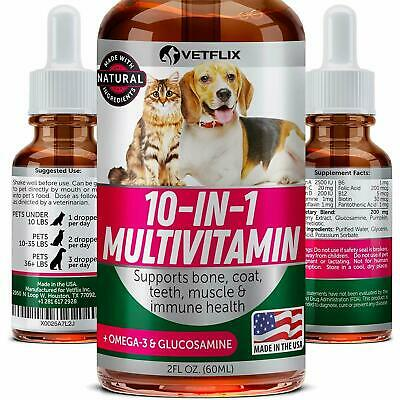 VETFLIX Pet Vitamins 10 in 1 - Made in USA - Glucosamine For Dogs & Cats