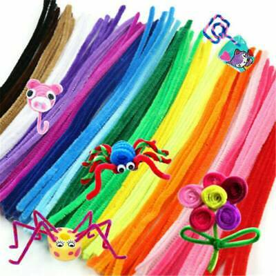 100 Pipe Chenille Sticks Cleaners Stems Assorted Plain+Fluffy Pompoms+Toy Eyes