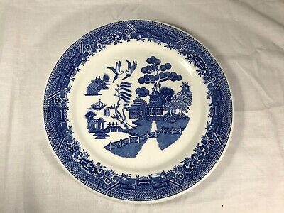 Antique Vintage Blue Willow Large Plate Grafton Chop Carro China Co Blue White