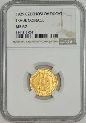 1929 Czechoslovakia Gold Ducat MS67 NGC Trade Coinage ~ None Finer! 942943-2