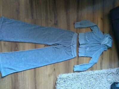 Girls Grey Velour Tracksuit Age 9/10