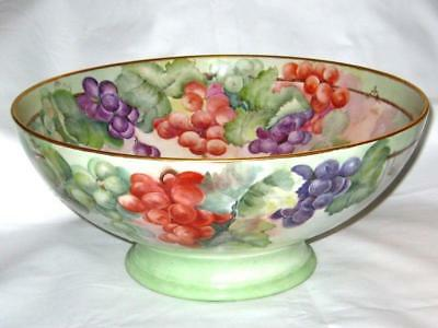Limoges Hand Painted Punch Bowl - Artist Signed - Grape Clusters