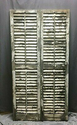 Pair Vtg House Window Wood Louvered Shutters 16x62 Shabby Old Chic White 387-20B
