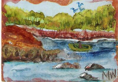 Landscape seascape lighthouse cove sunflower hill ACEO Giclee art print Criswell