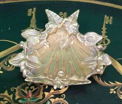 Unique French Gilded Bronze Shell & Leaves footed Dish Ornate Hollywood regency