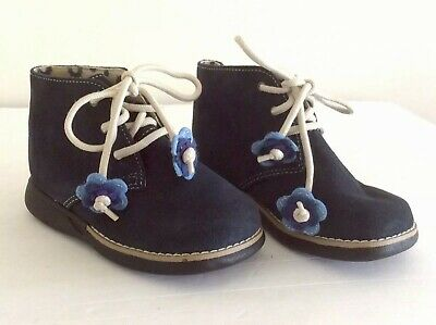 Infants Booties Shoes No Boundaries Lady Bug Laces Navy Blue Leather Size 7