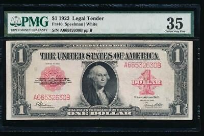 AC Fr 40 1923 $1 Legal Tender red seal  PMG 35