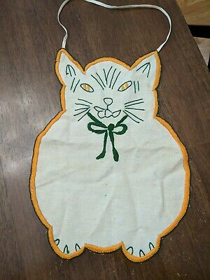 Vintage BABY BIB Burp Cloth Embroidered Cat Design