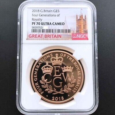 UK 2018 Great Britain Four Generations of Royalty 1oz Gold Proof Coin NGC PF70UC