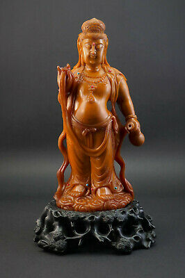 Finely Carved Chinese Republic Period Soapstone Guanyin Kwan Yin Figurine Statue