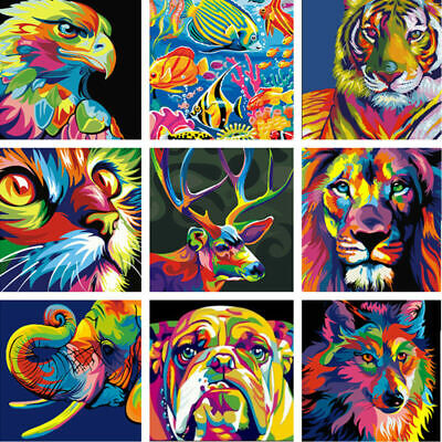 DIY Paint By Number Acrylic Oil Painting On Canvas Colorful Animals Kid Surprise