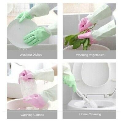 1 Pair Kitchen Rubber Cleaning Gloves Warm Lining Household Dishwashing Tools