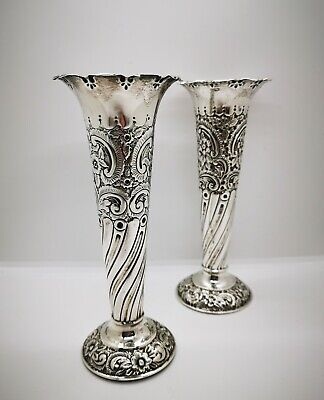 Near Pair Of Victorian Hallmarked Silver Bud Trumpet Vases 1900 Sterling Silver