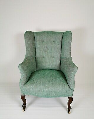 Antique Edwardian 20th Century Century Walnut Green Wing Back Armchair