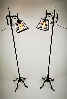 Pair Of Antique Vintage Estate Made Wrought Iron Standard Lamps / Floor Lamps