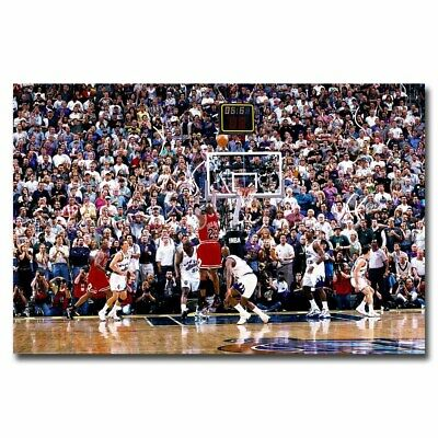Michael Jordan Last Amazing Shooting 24x36inch Sports Silk Poster Room Decal