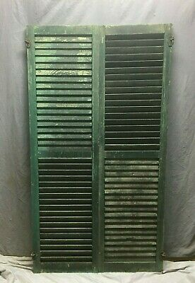 Pair Vtg House Window Wood Louvered Shutters 18x66 Shabby Old Chic Green 69-20M