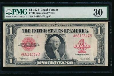 AC Fr 40 1923 $1 Legal Tender red seal  PMG 30