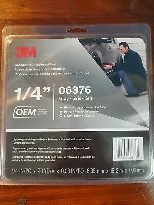 3M 06376 Automotive Attachment Tape, Gray, 1/4 in x 20 yd, 30 mil