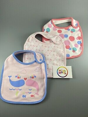 NEW M&S baby girls pink soft cotton whale duck polka feeding dribble bibs set x3