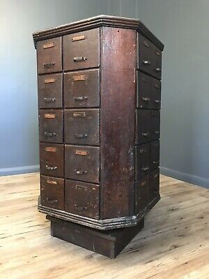 Antique Country Store Revolving Shop Cabinet Stack Of 40 Drawers Film Prop