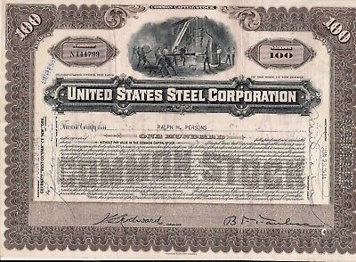 Stock certificate United States Steel Corp. 100 Shares 1940's New Jersey